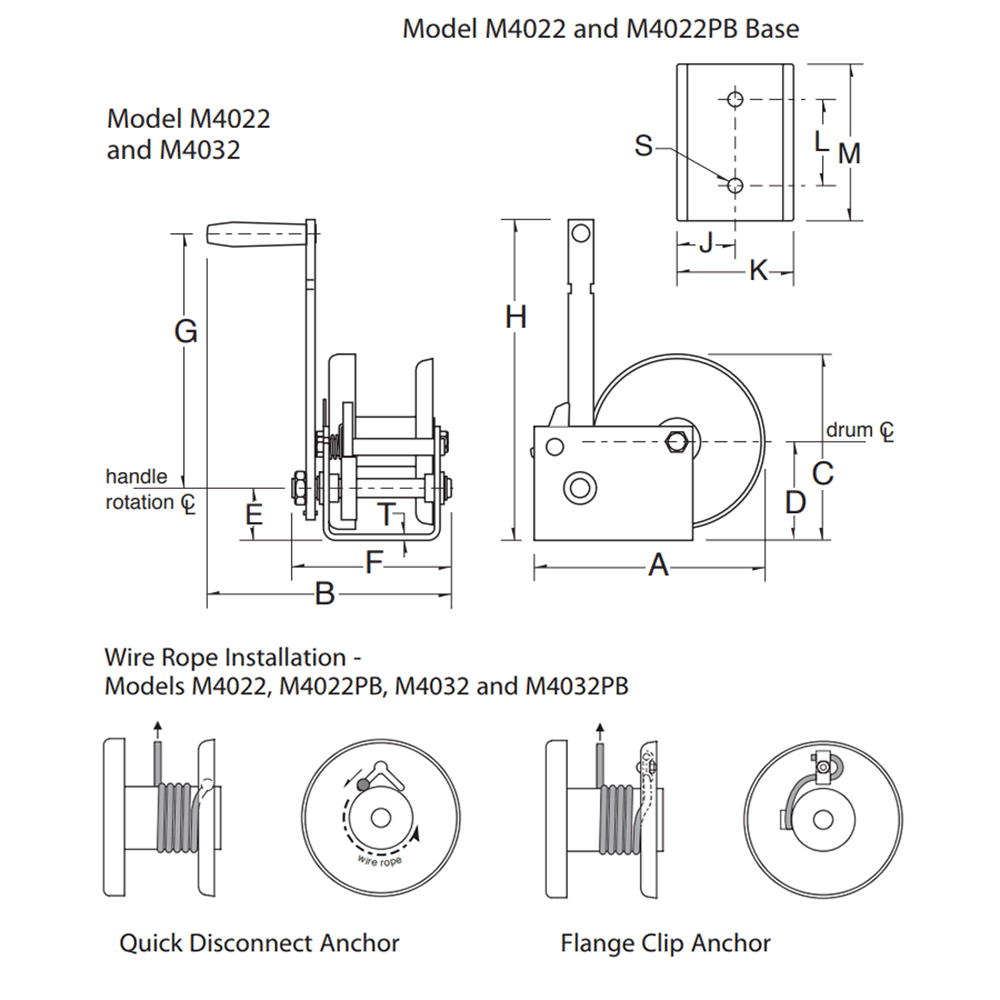 Dimensions for M4022